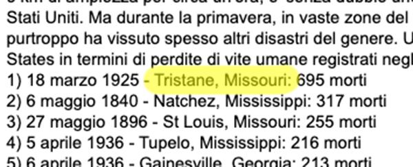 Com'è triste Tristane, Missouri